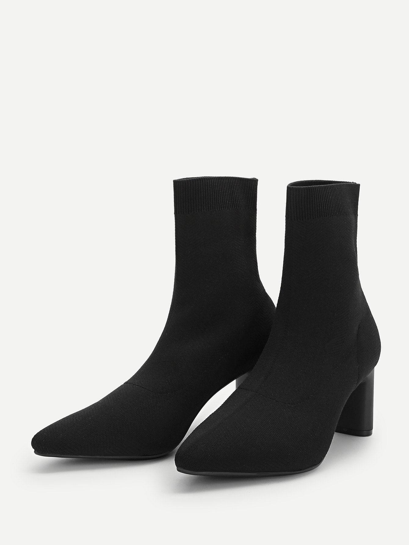 0a1b4b7dfd Elegant Plain Ankle No zipper Black Mid Heel Chunky Point Toe Sock Boots