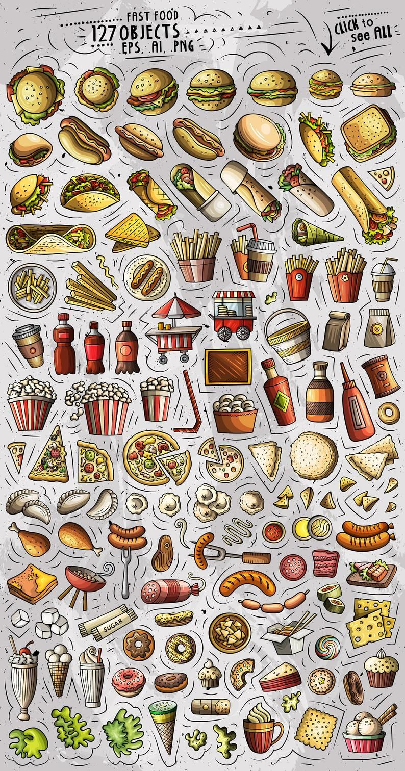 Fastfood Vector Clipart Fast Food Cartoon Png Set Food Etsy Food Cartoon Food Doodles Fast Food