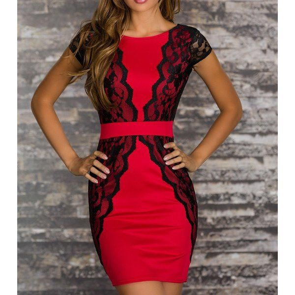 Sexy Jewel Neck Lace Splicing Short Sleeve Backless Dress For Women, RED, M in Bodycon Dresses