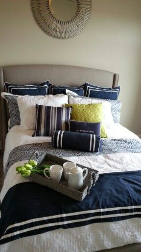 Guest Bedroom Navy Blue Lime Green Upholstered
