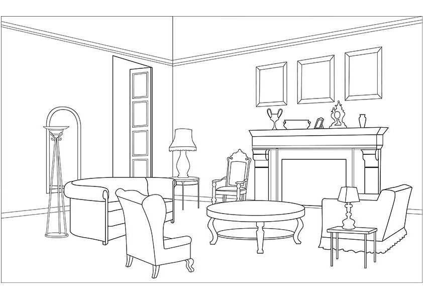 Living Room Coloring Pages Download And Print For Free House