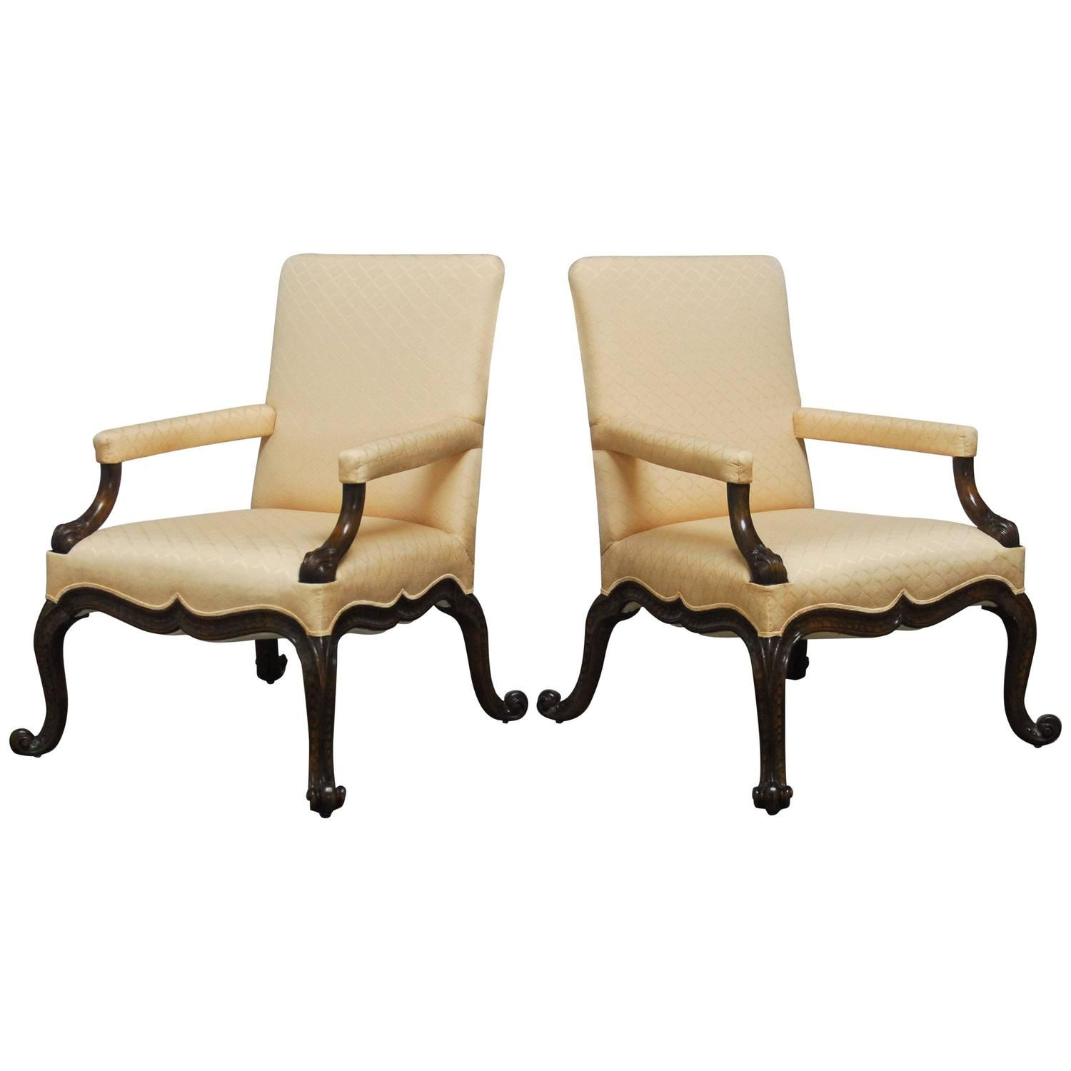 george ii style gainsborough library chairs | armchairs and modern
