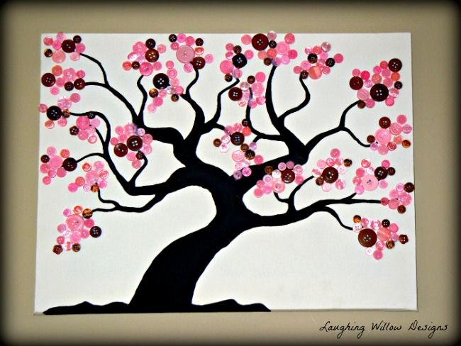 Another Button Tree I Love Making Them This Beautiful Tree Is For Sale Laughing Willow Designs Button Tree Art Button Crafts Button Tree
