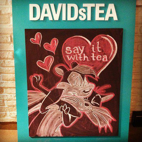 Chalkboard signs for DavidsTea, showing promotions and teas of the day.