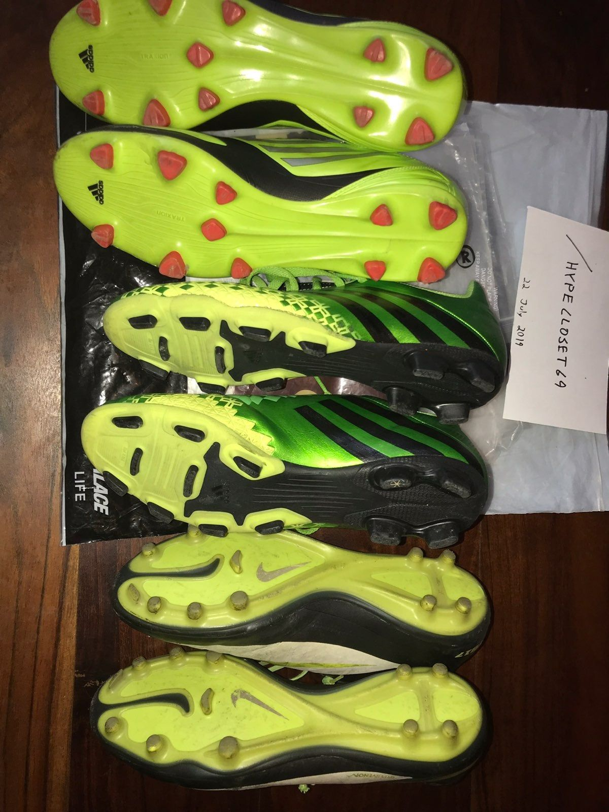 3 pairs of quality soccer cleats size 10959 adidas