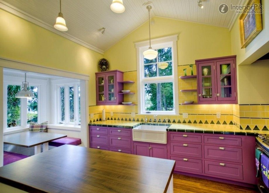 Kitchen Purple Design European Renovated Pictures And