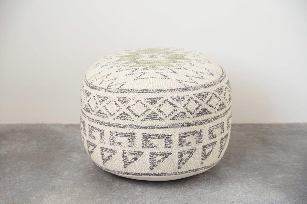 Maisy Kilim Pouf Kilim Ottoman Minimalist Home Decor Leather