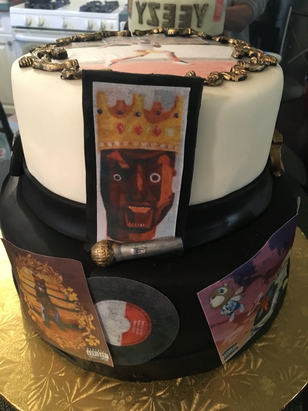 Kanye West Album Inspired Birthday Cake With Gold Detail