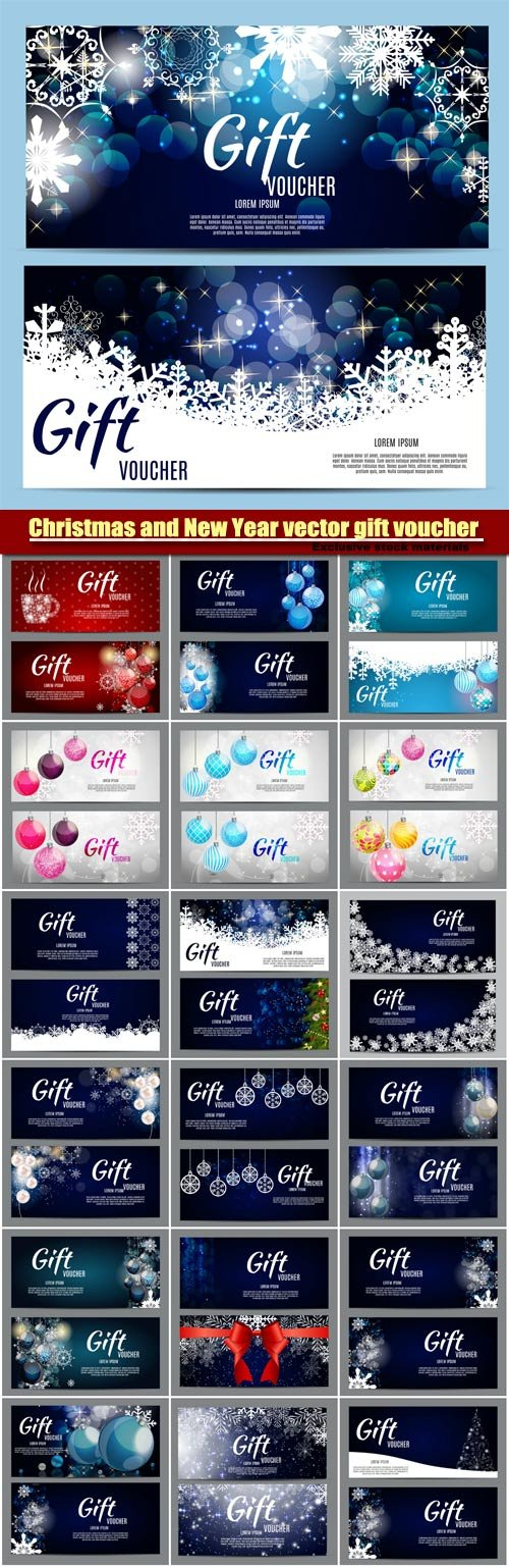Christmas and New Year vector gift voucher discount coupon - discount coupon template