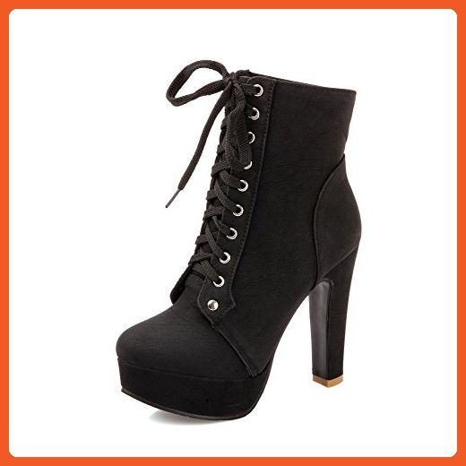 Women's Round Closed Toe High Heels Low Top Solid Boots Black 42