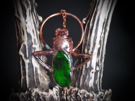 cicada electroformed with copper and pure ruthenium finishing Real insect jewelry