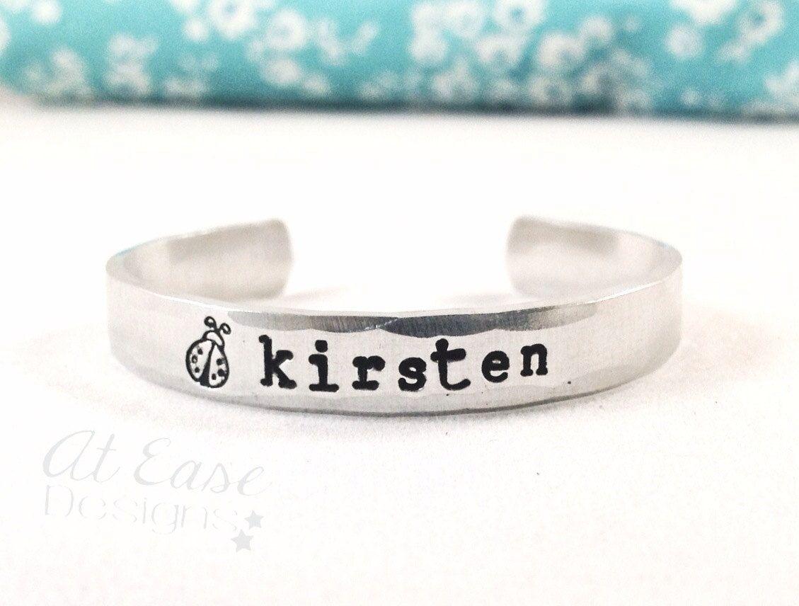 LADYBUG love bug child name bracelet.