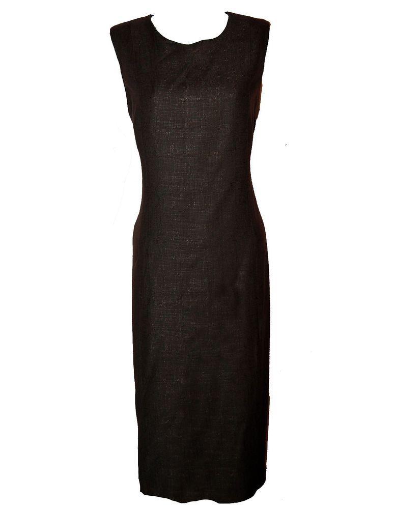 c954277f59 ZARA Basic Dark Brown Women s Long Pencil Skinny Dress Size L Rayon Linen  Spain  ZARA  WigglePencil  Casual