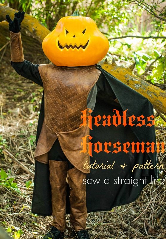 Headless Horseman costume for a child. Full tutorials for the light-up pumpkin head and cape and PDF patterns and tutorials for the tunic boots and arm ... & Headless Horseman costume for a child. Full tutorials for the light ...