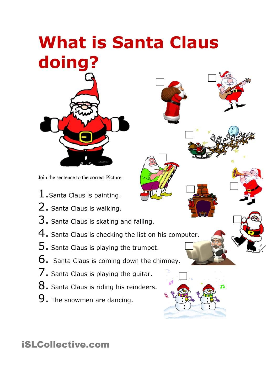 What Is Santa Doing Christmas Worksheets Christmas Songs For Kids English Lessons
