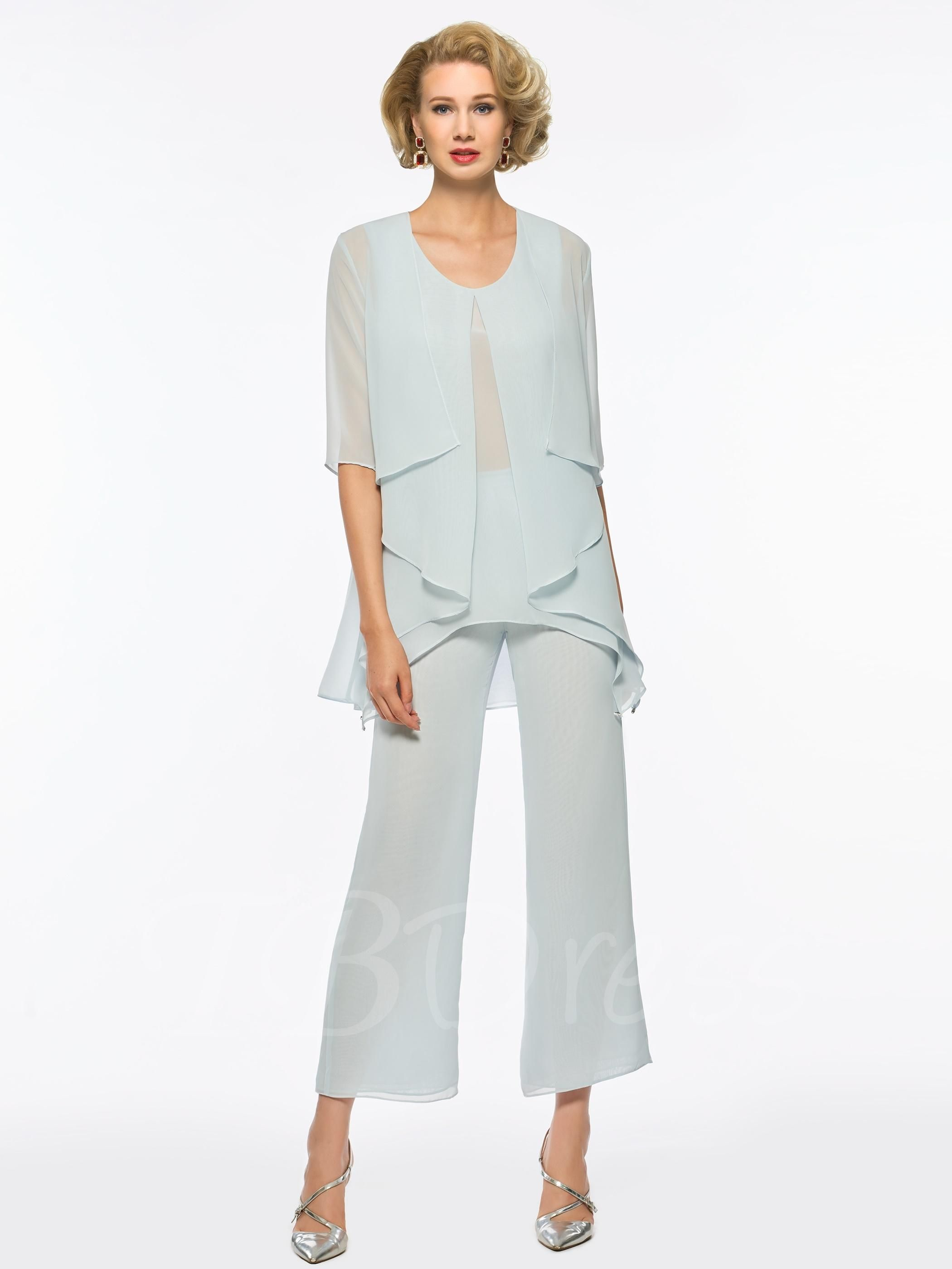 Scoop neck chiffon mother of the bride jumpsuit with jacket in