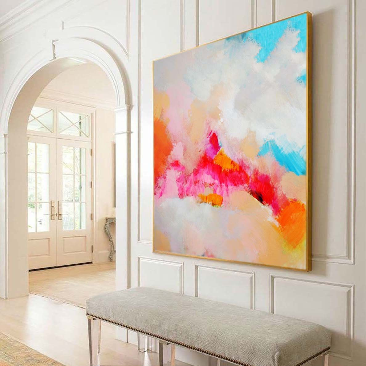 Tangerine Clouds Abstract Art Print Bright Modern Home Decor Etsy Modern Abstract Painting Large Abstract Painting Orange Wall Art