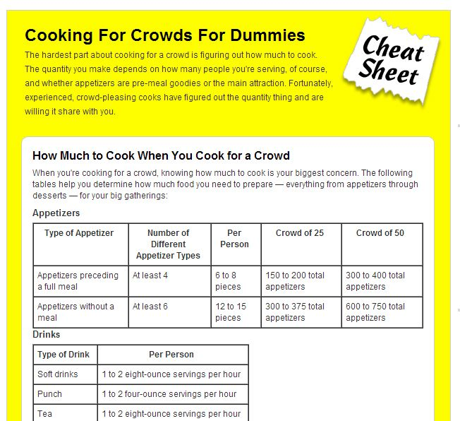 Cooking For Crowds For Dummies Cheat Sheet Cooking For A Crowd