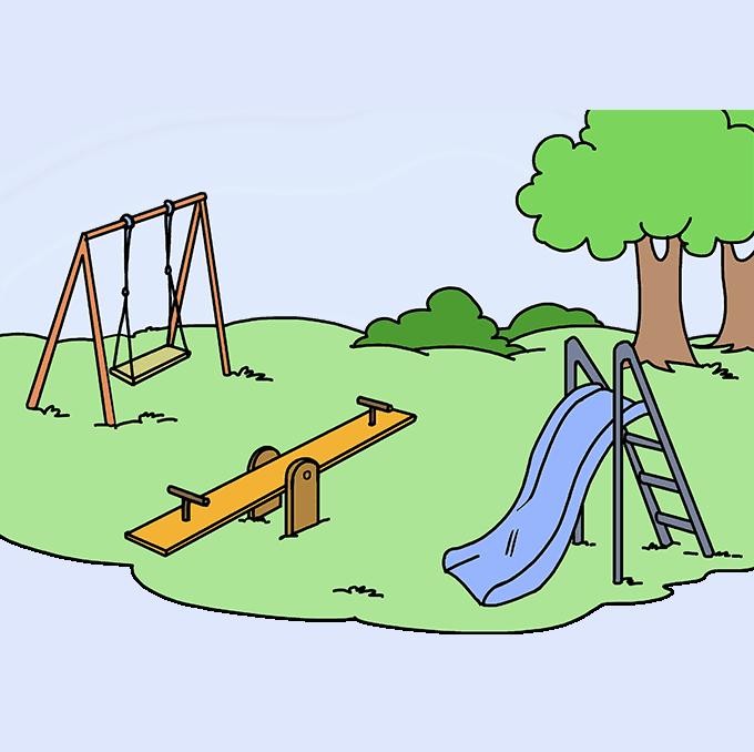 Детская площадка картинки нарисованные