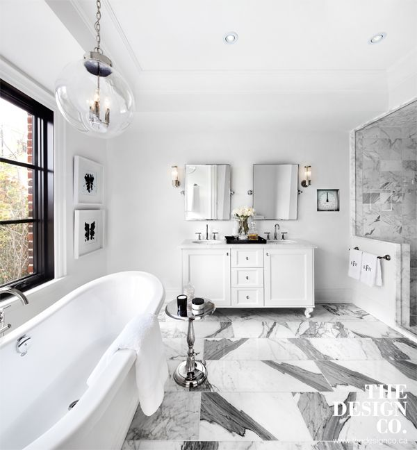 Welcoming White Kitchen Is Illuminated By Regina Andrew: Master Bathroom, Master Ensuite, Marble Floors, Globe Pendant, Freestanding Tub, White Mater