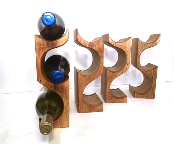 Free Standing Countertop 3 Bottle Wood Wine Rack Made From Black