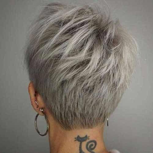 Back View Of Short Layered Haircuts In 2020 Thick Hair Styles Hair Styles Short Layered Haircuts