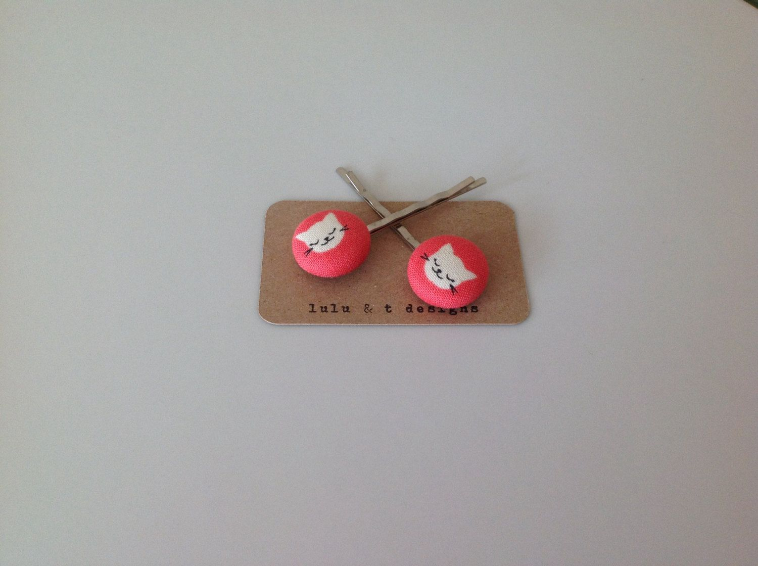 Kitty cat fabric covered button bobby pin pair by Luluandt on Etsy