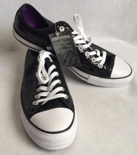 e32797dd5018 Converse-All-Star-Black-Sequin-Glamour-Sneakers-Shoes-Women-039-s -13-Mens-11-New