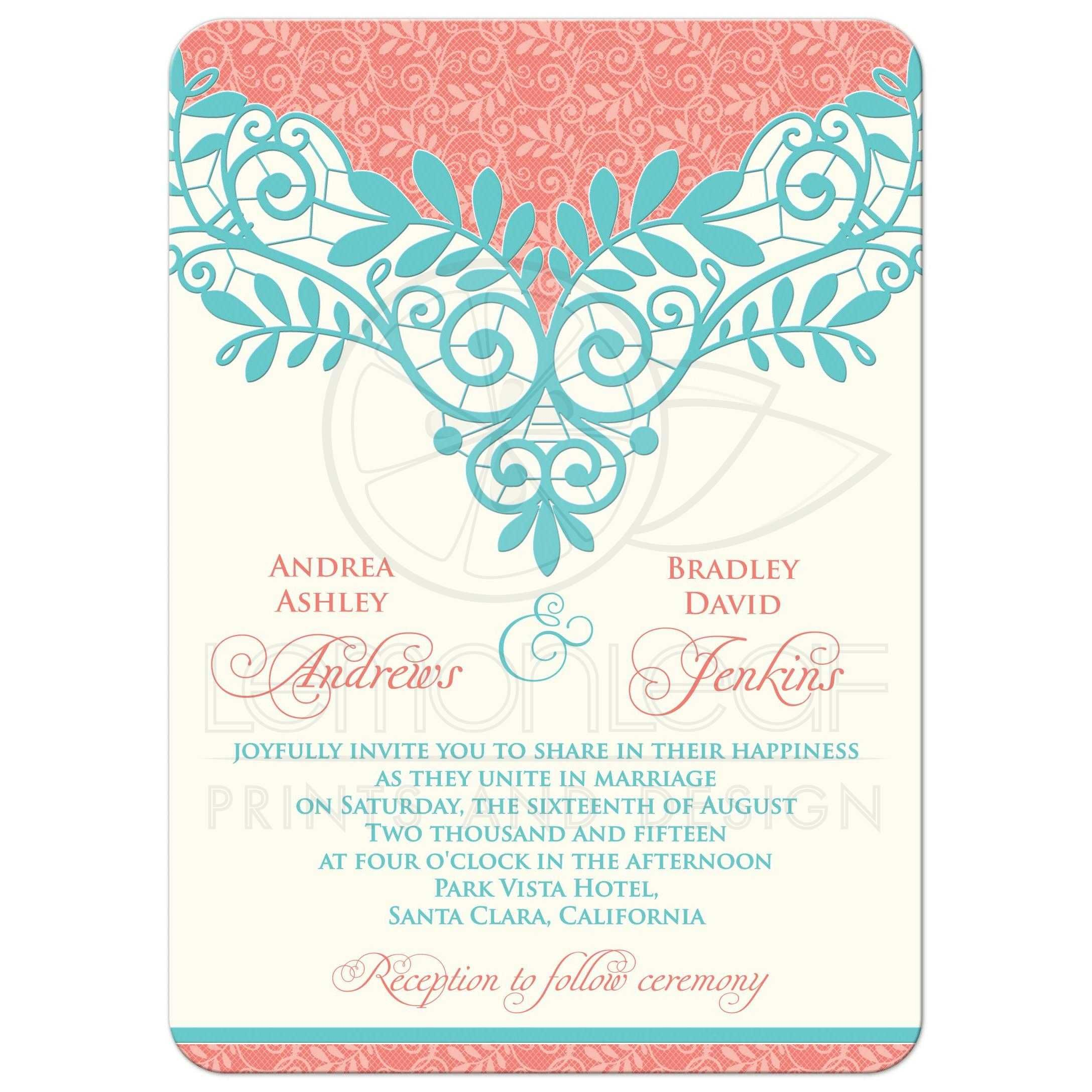 Wedding Invitation Vintage Lace Coral Turquoise   Coral turquoise ...