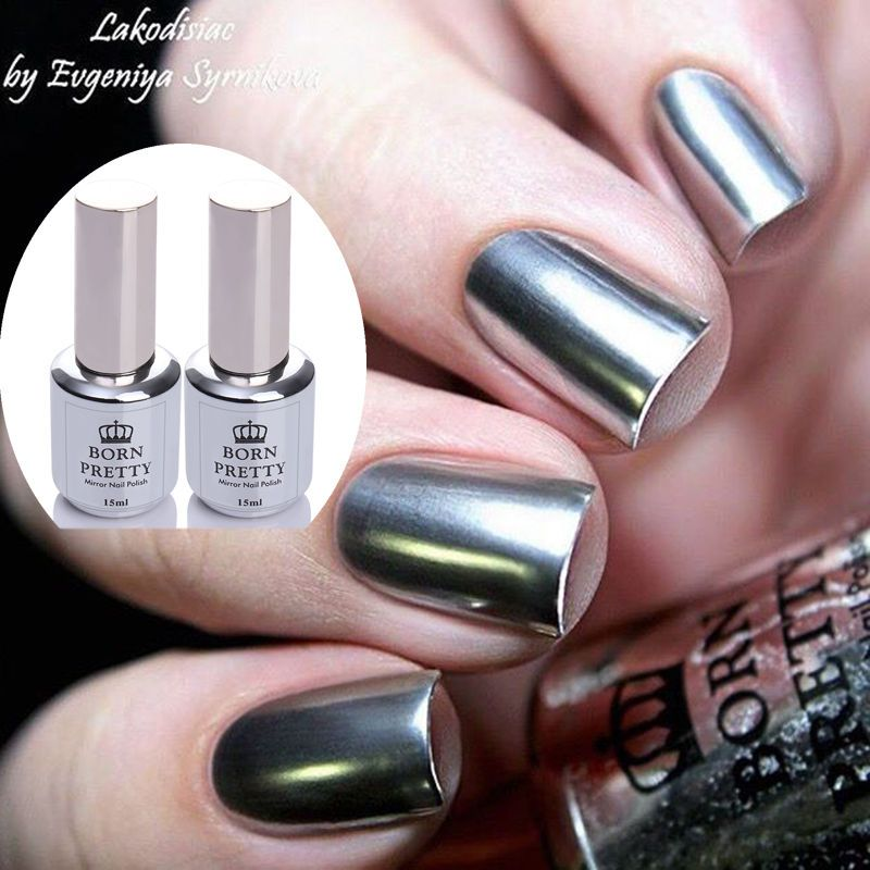 $5.99 - 2Pcs 15Ml Nail Art Glitter Mirror Nail Polish & Top Coat ...