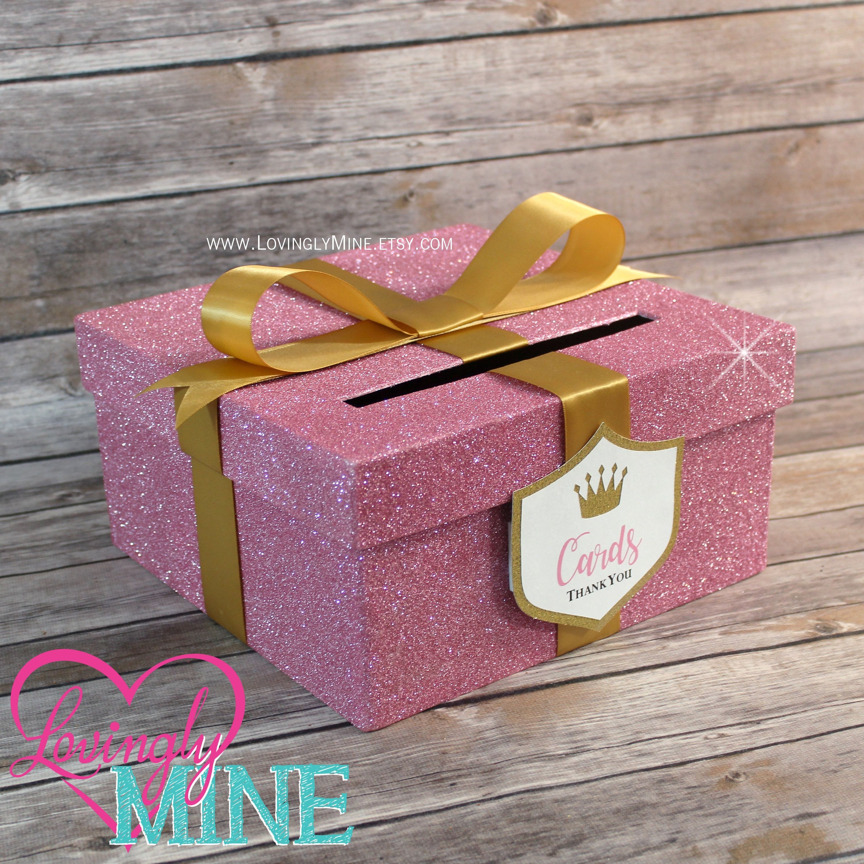 CLEARANCE Card Box in Glitter Pink & Gold with Matching Princess ...