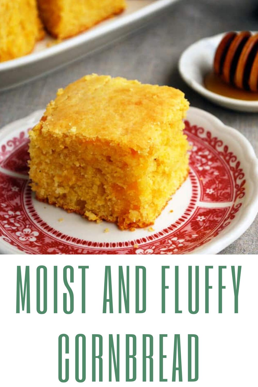Moist And Fluffy Cornbread In 2020 Cornbread Recipe Sweet Fluffy Cornbread Corn Bread Recipe
