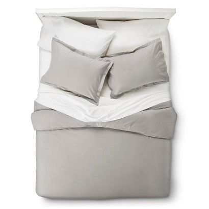 400 Thread Count Hemstitch Solid Duvet Cover Set - Grey Master