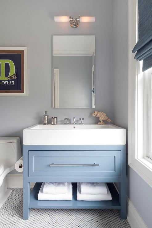 Blue Sink Vanity On Light Blue Gray Mirror Transitional Bathroom Light Blue Bathroom Blue Bathroom Vanity Grey Bathroom Vanity