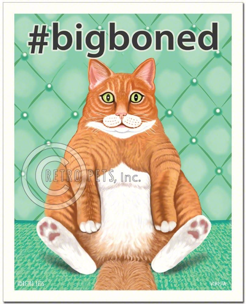 "Cat Art ""bigboned"" Art Print by Krista Brooks Cat art"