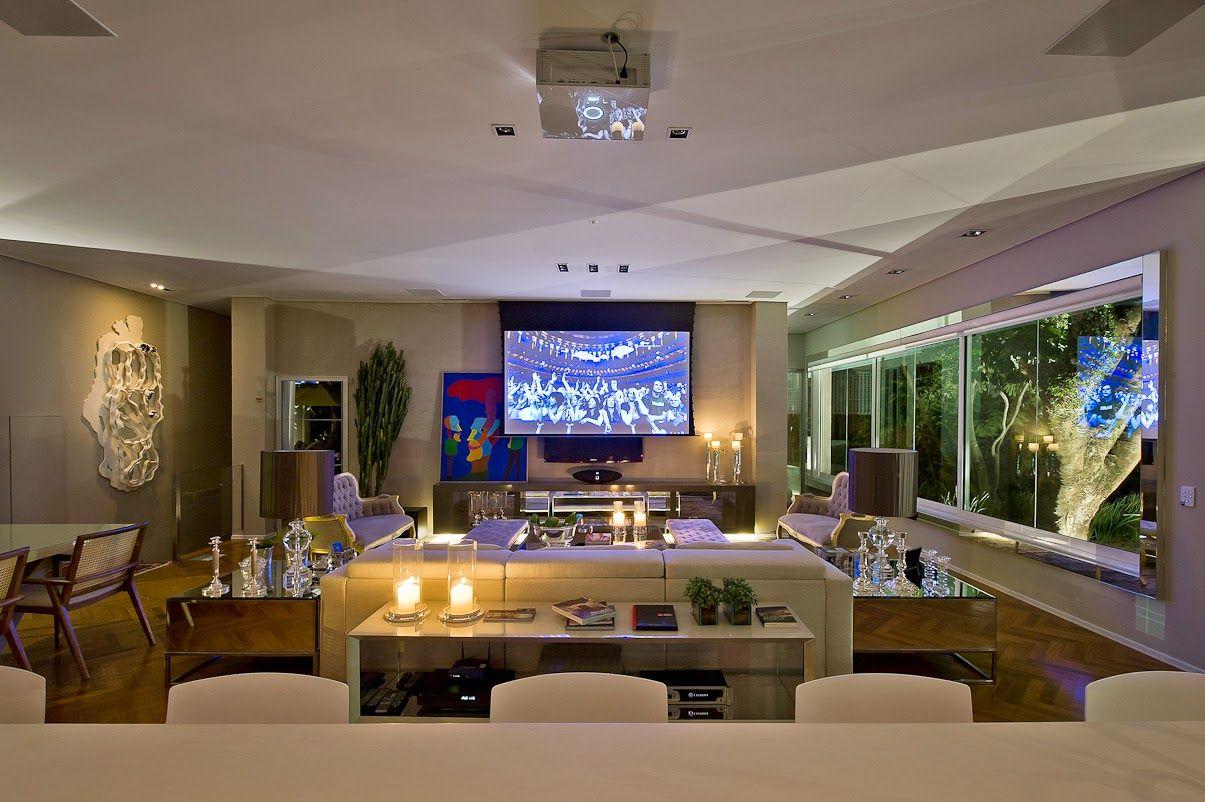 Cozinha E Salas Estar Jantar Integradas Com Decora O Neutra E  -> Minha Sala E Cozinha