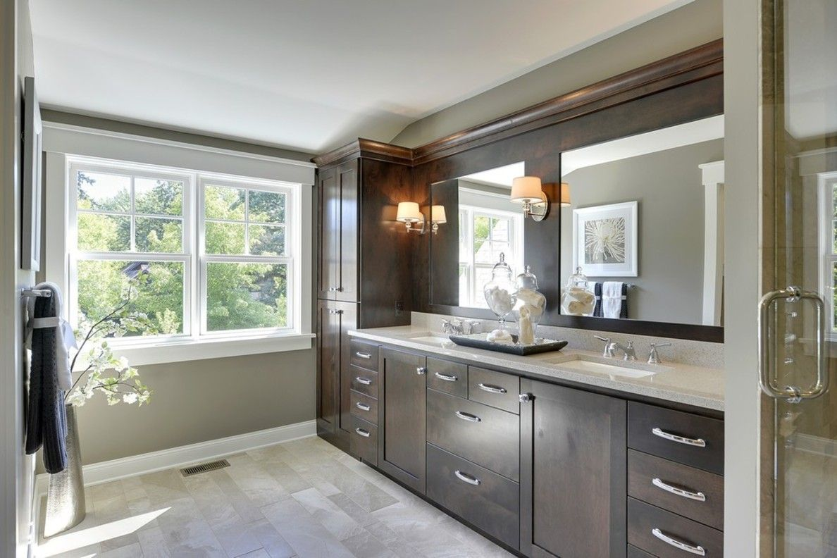 Transitional Bathroom Ideas - Transitional bathroom beautiful dark wood and grey marble tile