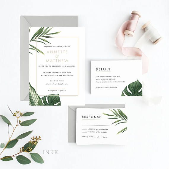 Places To Print Wedding Invitations: Tropical Wedding Invitation Suite, Wedding Invitation
