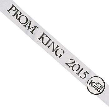 The 2015 White Imperial Prom King Button Sash is a white satin sash with Prom King 2015 imprinted in black with a coordinating button closure.
