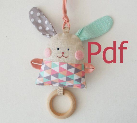 PDF Pattern Rattle Bunny, Textile Baby Toys Wooden Ring Teether, Sewing pattern Soft Rattle Toy ,Teething Toy, Gift for Baby, DIY Pattern #beddollsandcrocheted1112sizedolldresses