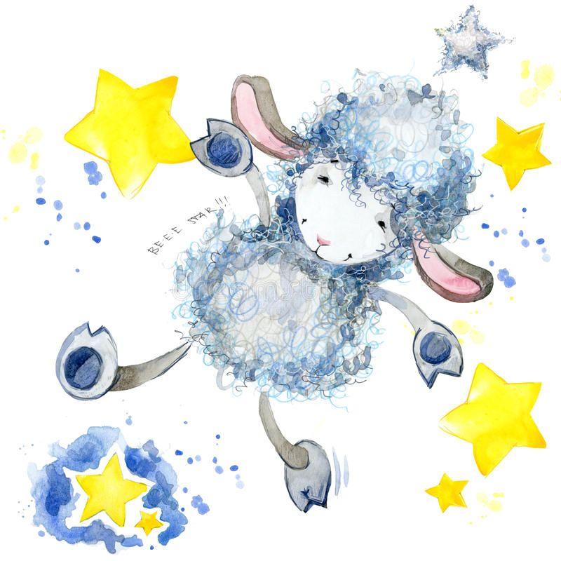 Cute Sheep Watercolor Illustration Sheep T Shirt Design Sheep