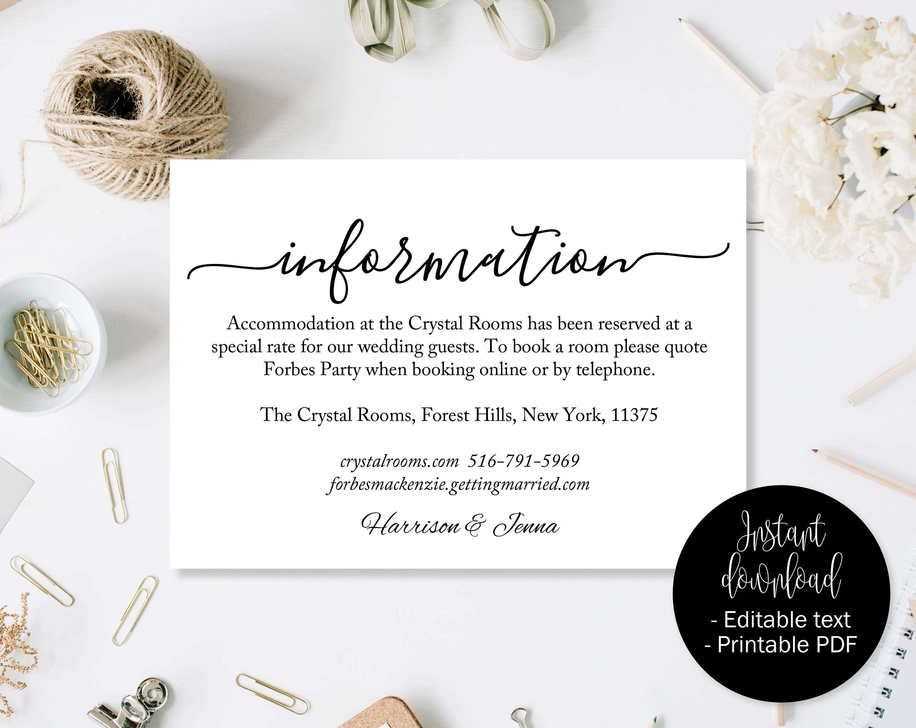 Wedding Guest Details Template Accommodation Information Printable Card Directions Info 10