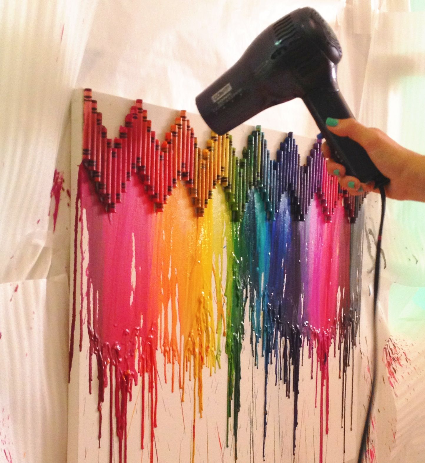 Crayon canvases can be done so many different ways for How to melt crayons on canvas