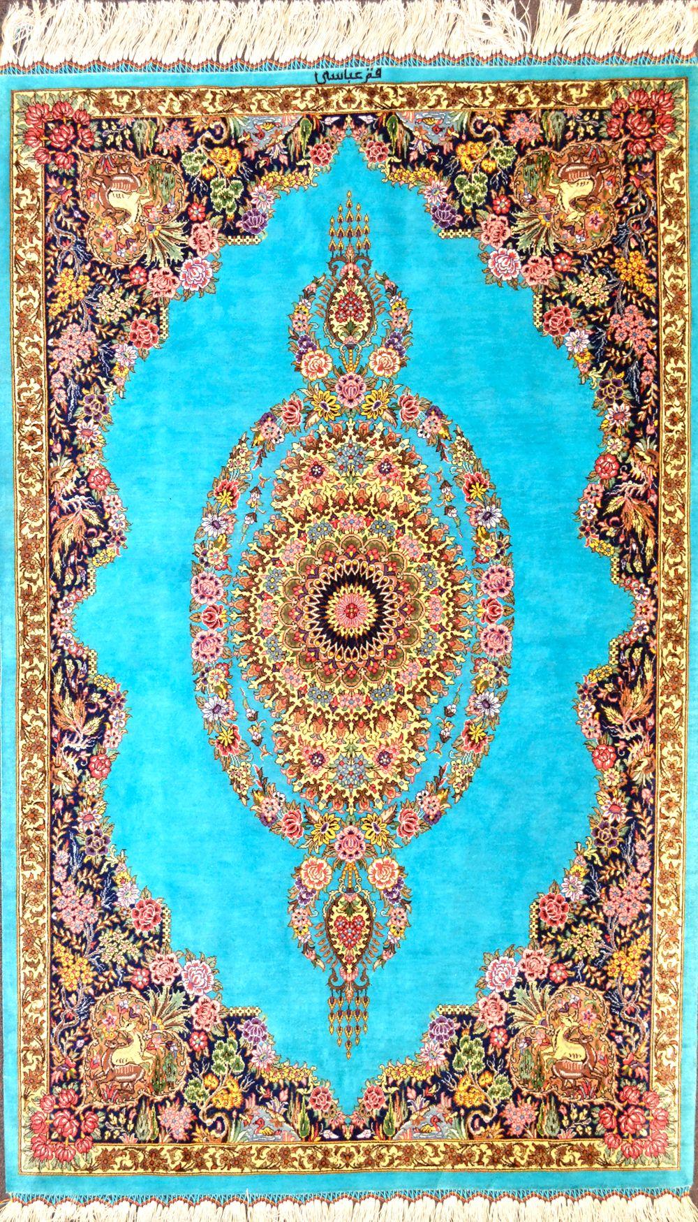 Sky Blue Qum Silk Abbasi Silk Persian Rug Item Hf 1440 Silk Persian Rugs Persian Rug Rugs On Carpet