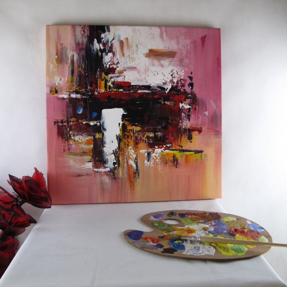 Elegant wall pictures for bedroom abstract oil painting handmade