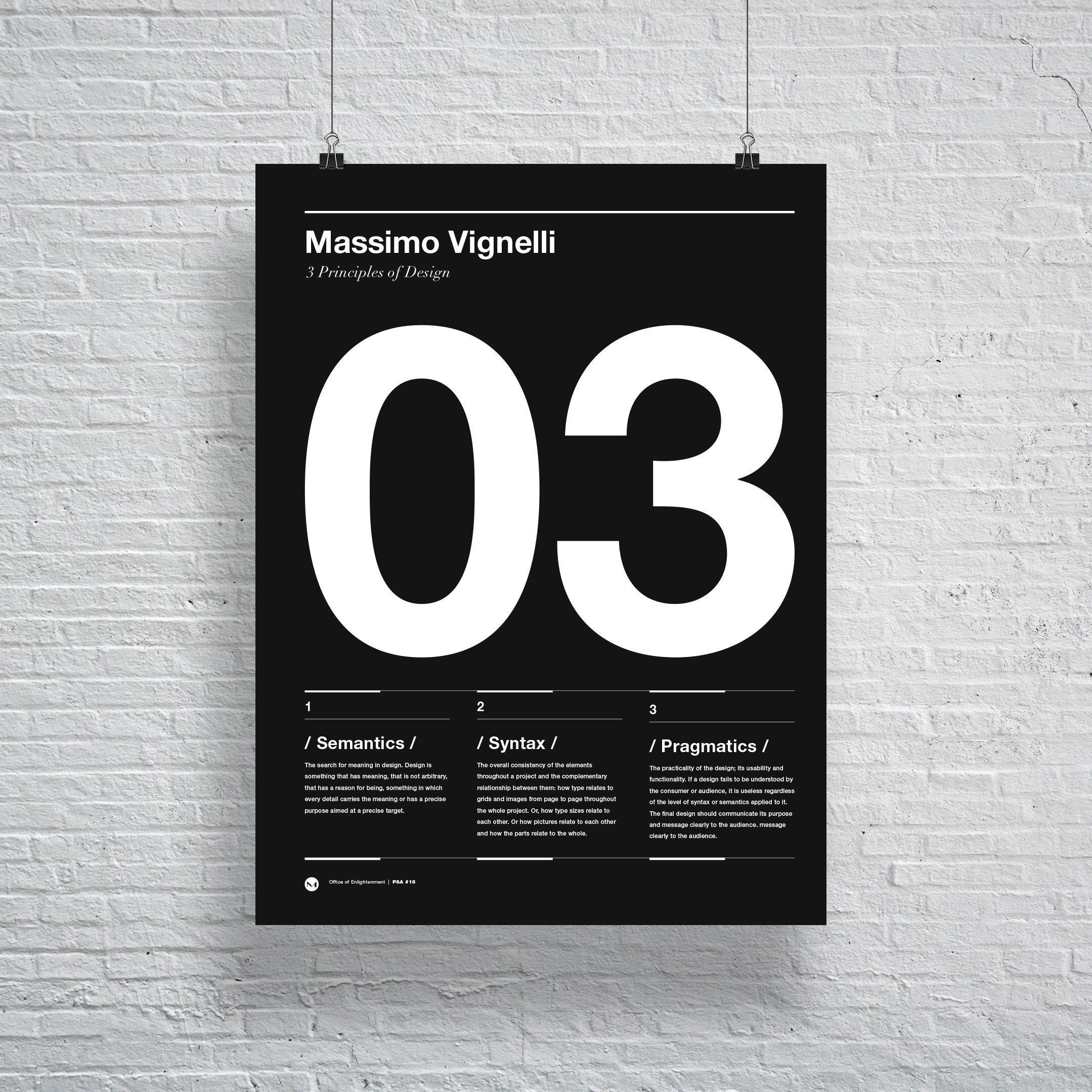 Massimo Vignelli Principals of Design Poster, Helvetica