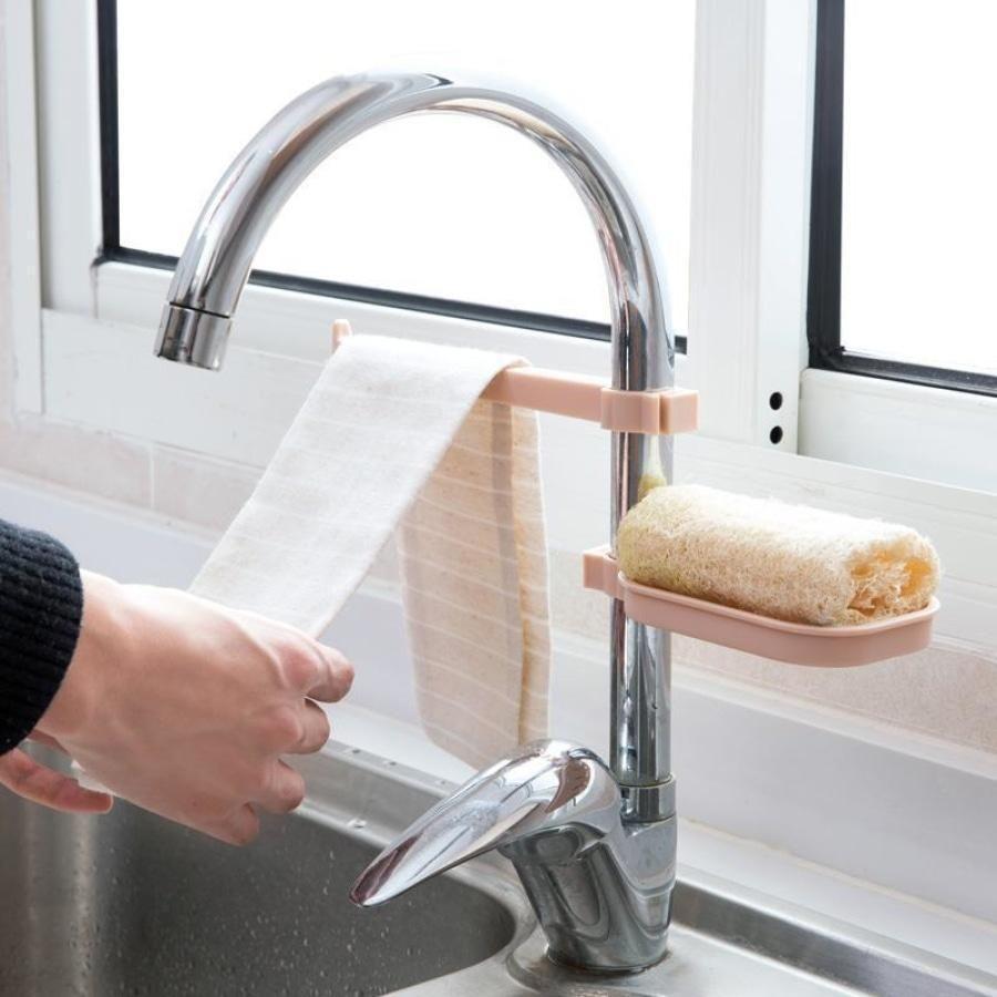 Kitchen Supplies Sink Sponge Cloth Drain Rack Holder Shelf Storage Organizer SA