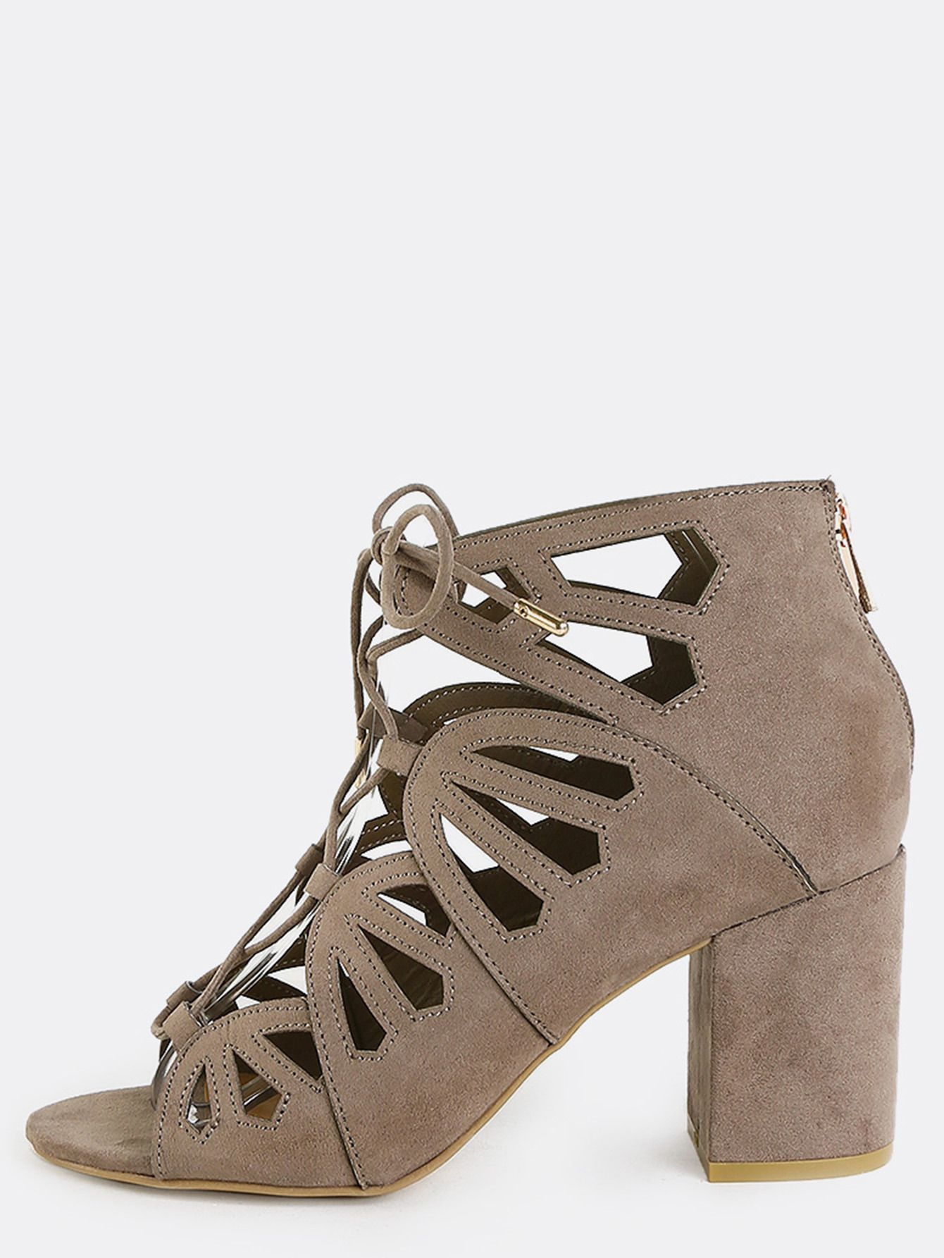 eff9810bde0c2 Make your outfit stand out with the Suede Cut Out Chunky Heels. Features an  open toe, faux suede upper, cut out accents, back zipper, and a lace up  design.