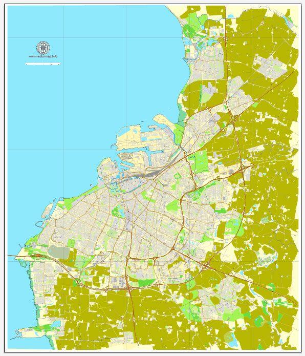 Malmo Malm Sweden exact printable vector street map City Plan