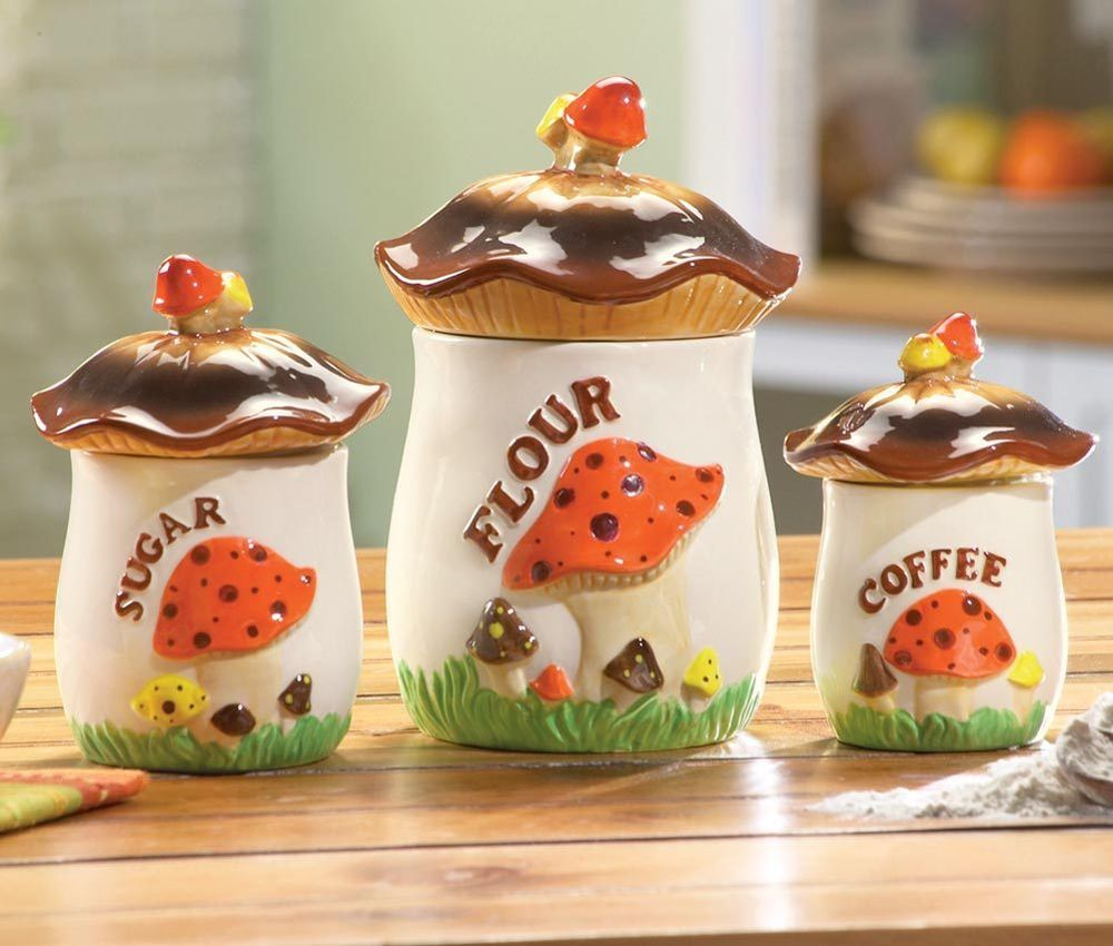 kitchen decor collections mushroom kitchen canisters home decor in 2019 kitchen canisters vintage kitchenware vintage 6164